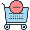 cart, commerce, e, minus icon