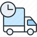 commerce, delivery, e, shipping, time icon