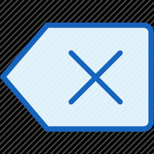 close, interface, label icon