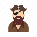 captain, character, fun, hat, pirate, skull, toy icon