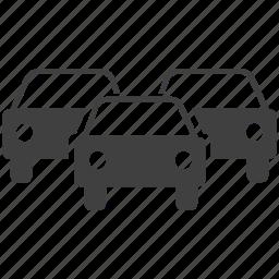 car, heavy traffic, sign, traffic icon
