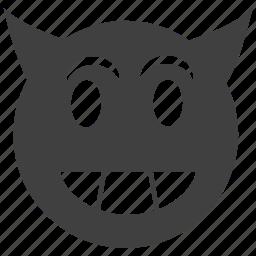 avatar, bad, devil, emoticon, evil, expression, happy, horror, satan, smiley, terror icon