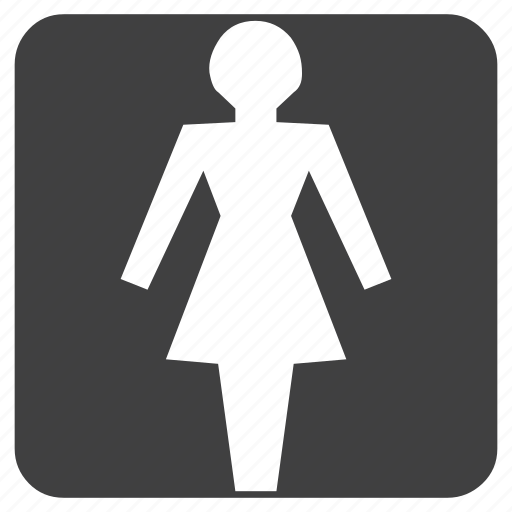 female, for, ladies, lady, latrine, sign, toilet, washroom icon