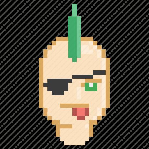 green, mohawk, profile, punk, rebel, rock icon