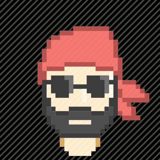 bandana, beard, biker, macho, profile, sunglasses icon