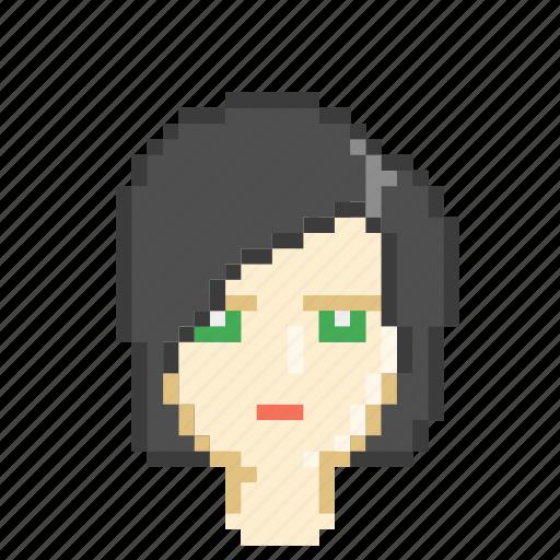 dark, female, girl, profile, retro icon