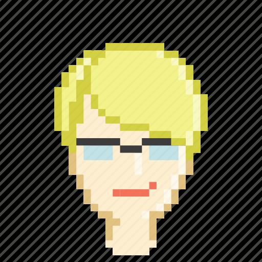 blonde, business, female, girl, glasses, profile, secretary icon