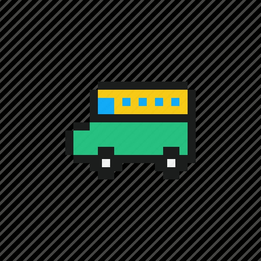 bus, car, cars, pixel car, pixels car, school, vehicles icon