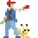 ash, avatar, pikachu, pocketmonster, pokeball, pokemon icon