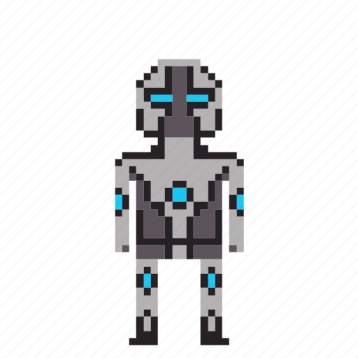 avatar, bionic, cyborg, machine robot, man, person, pixels, robot icon