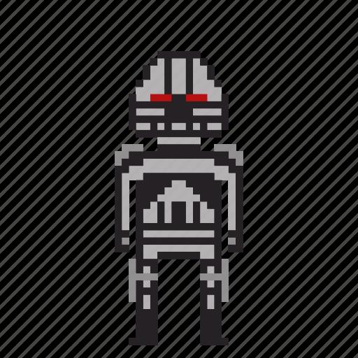 avatar, bionic, cyborg, man, person, pixels, robot icon
