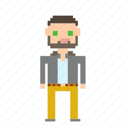 beard, guy, male, man, person, pixels, profile icon