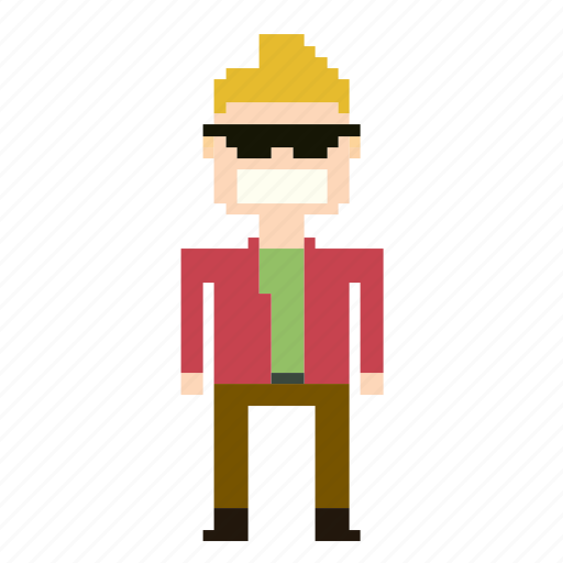 avatar, boy, man, person, pixels, profile, sunglasses icon