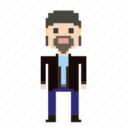 avatar, beard, man, person, pixels, user icon