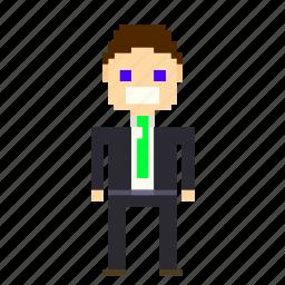 account, business, businessman, finance, man, person, pixels, suit icon