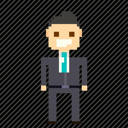 business, businessman, finance, man, person, pixels, suit, user icon