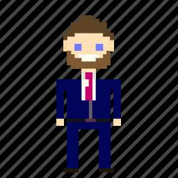 account, beard, business, businessman, man, person, pixels, suit icon
