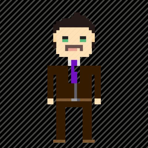 account, business, businessman, man, person, pixels, suit icon