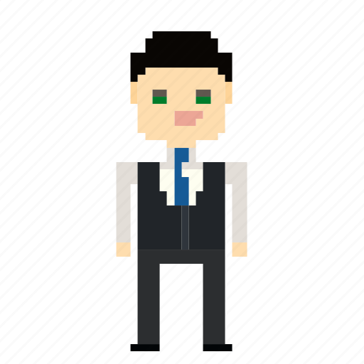 account, avatar, business, businessman, man, person, pixels, suit icon