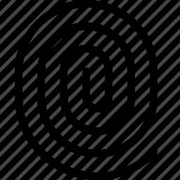 finger, fingerprint, fingerprinting, identification, impression, mark, print icon