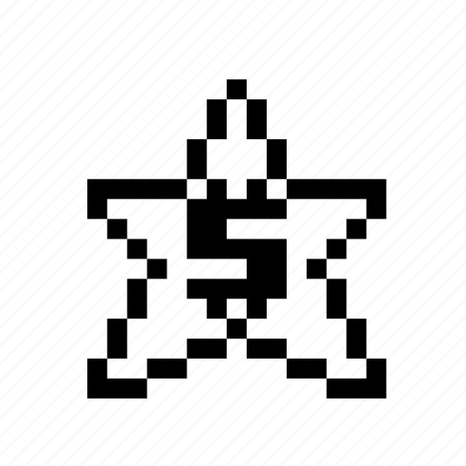 dollar, money, pixel art, star icon