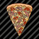 fast food, pizza, mushroom, ingredient, product, meat, food