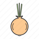 food, ingredients, onion, pizza topping icon