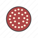food, ingredients, pepperoni, pizza topping icon