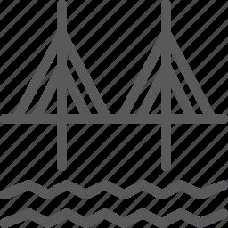 architecture, bridge, city, cross, passage, river, road icon