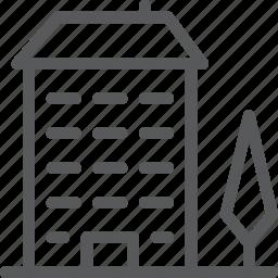 apartment, architecture, building, city, estate, park, tree icon