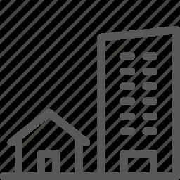 architecture, building, city, estate, property, twins icon