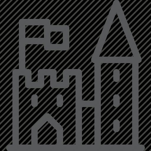 architecture, castle, city, estate, medieval, monument, tower icon