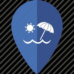 beach, location, marker, nature, ocean, place, sea icon