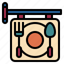 canteen, court, dish, food, restaurant, sign icon