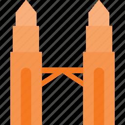 architecture, building, landmark, petronas, place icon