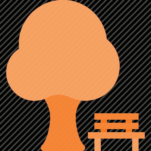 bench, landmark, park, place, tree icon