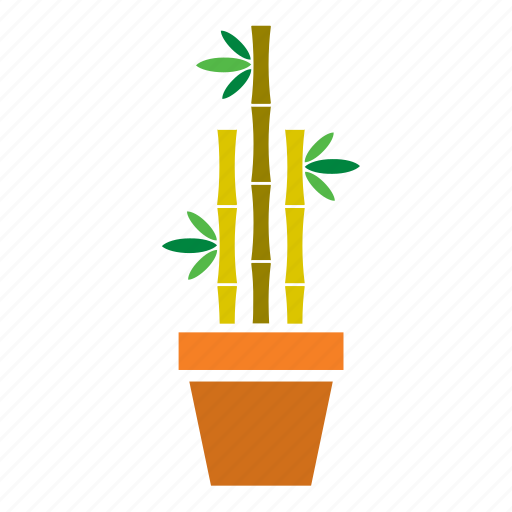 bamboo, decoration, garden, nature, plant, pot icon