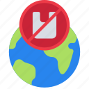 ban, global, plastic, pollution, recycle icon