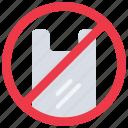 bags, contamination, no, plastic, pollution, reusable icon