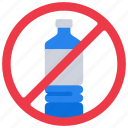 bottles, contamination, no, plastic, pollution icon
