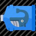 bottle, in, ocean, plastic, pollution, whale