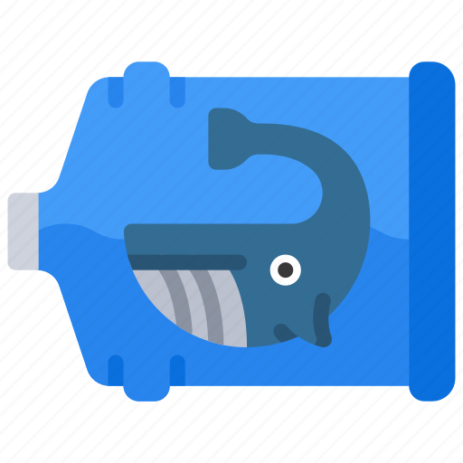 bottle, in, ocean, plastic, pollution, whale icon