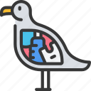 bird, full, of, plastic, pollution, reusable icon
