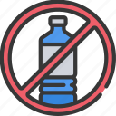 bottles, contamination, no, plastic, pollution icon