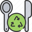 cutlery, planet, plastic, pollution, reduce, reusable icon