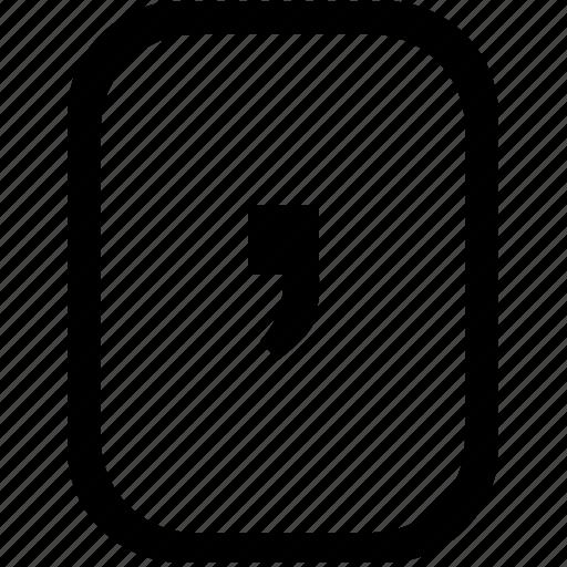 comma, keyboard, keypad, mobile icon