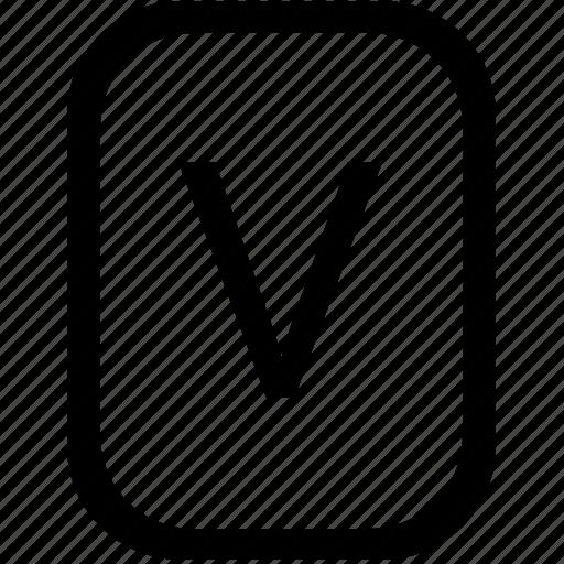 keyboard, keypad, latin, letter, mobile, uppercase, v icon