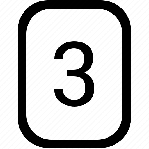 keyboard, keypad, mobile, number, third, three icon