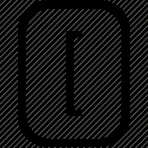 bracket, keyboard, keypad, left, mobile, square icon