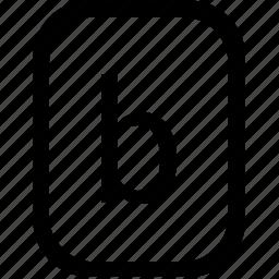 alphabet, b, keyboard, latin, letter, lowcase, mobile icon
